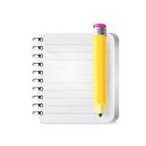 Cuaderno y lápiz Vector Imagen de archivo libre de regalías