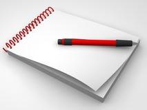 Cuaderno y la pluma Fotos de archivo libres de regalías