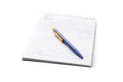 Cuaderno y la pluma Imagen de archivo