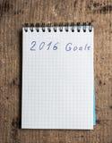 Cuaderno y metas del año 2016 Fotos de archivo libres de regalías