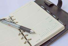 Cuaderno y pluma abiertos del cuero Fotos de archivo libres de regalías