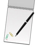 Cuaderno y pluma del VECTOR Fotografía de archivo libre de regalías