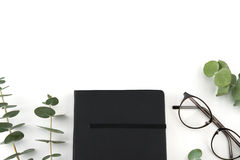 Cuaderno y vidrios negros Fotografía de archivo