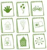 Cuadernos con diversos diseños de la página de cubierta Fotografía de archivo
