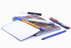 Cuadernos con las plumas Foto de archivo libre de regalías