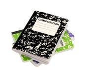 Cuadernos de la composición en un fondo blanco Foto de archivo libre de regalías