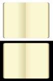 Cuadernos en blanco abiertos del moleskine Foto de archivo libre de regalías