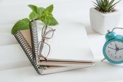 Cuadernos en el fondo de madera blanco Imagen de archivo libre de regalías