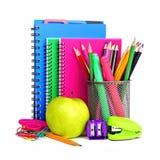 Cuadernos y fuentes de escuela Imagen de archivo libre de regalías