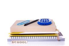 Cuadernos y materiales de la escuela Imagenes de archivo