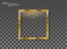 Cuadrado abstracto de oro con polvo chispeante que cae en fondo aislado transparente Marco del vector por el Año Nuevo, la Navida ilustración del vector