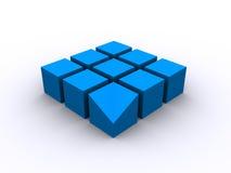 Cuadrado azul del cubo 3d Foto de archivo libre de regalías