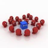 Cuadrado azul rodeado por los mármoles rojos Fotos de archivo libres de regalías