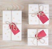 Cuadrado blanco de los regalos de Navidad Foto de archivo