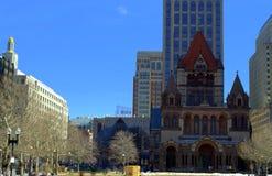 Cuadrado Boston Massachusetts de Copley de la iglesia de Trinnity de la historia del ` s de Boston Fotografía de archivo libre de regalías