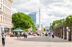 Cuadrado central en la ciudad Riga latvia imagen de archivo