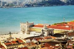 Cuadrado central Praca de Comercio, Portugal de Lisboa Imagen de archivo libre de regalías