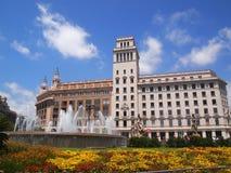 Cuadrado de Catalunya en Barcelona Foto de archivo libre de regalías