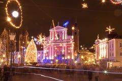 Cuadrado de ciudad festivo Imagen de archivo libre de regalías