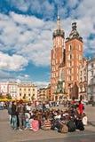 Cuadrado de ciudad principal en Kraków, Polonia Foto de archivo libre de regalías