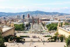 Cuadrado de España en Barcelona España foto de archivo