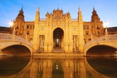 Cuadrado de España en la noche Sevilla - España Foto de archivo