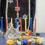 Cuadrado de Hanukkah y de los dreidels Foto de archivo