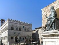 Cuadrado de IV noviembre, ciudad de Perugia Imagenes de archivo