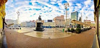 Cuadrado de Jelacic de la prohibición en el panorama de Zagreb Imagen de archivo