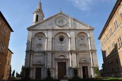 Cuadrado de la catedral en Pienza en Toscana Imágenes de archivo libres de regalías