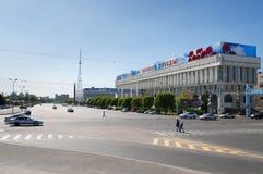 Cuadrado de la república en Almaty, Kazajistán Foto de archivo