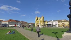 Cuadrado de la unión de Timisoara almacen de metraje de vídeo