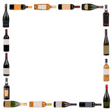 Cuadrado de las botellas de vino foto de archivo libre de regalías