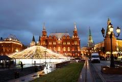 Cuadrado de Manezhnaya en Moscú el noche del Año Nuevo Fotografía de archivo libre de regalías