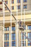 Cuadrado de Manezhnaya Instalación de las decoraciones de la Navidad Fotografía de archivo