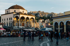 Cuadrado de Monastiraki en Atenas, Grecia fotografía de archivo libre de regalías