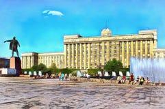 Cuadrado de Mosc? en la ciudad de St Petersburg ilustración del vector