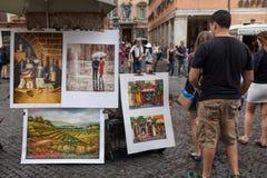 Cuadrado de Navona de las pinturas Foto de archivo