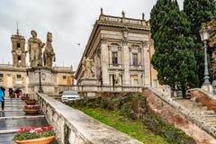 Cuadrado de Piazza del Campidoglio Capitol en la colina de Capitoline, Roma imagen de archivo