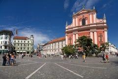 Cuadrado de Preseren, Ljubljana Imagen de archivo libre de regalías