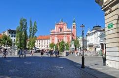 Cuadrado de Preserens e iglesia franciscana del St, Ljubljana, Eslovenia Imágenes de archivo libres de regalías