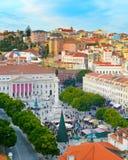 Cuadrado de Rossio del centro Lisboa, Portugal Imágenes de archivo libres de regalías