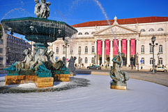 Cuadrado de Rossio, Lisboa, Portugal Fotos de archivo