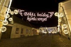 Cuadrado de Szentlelek en el christmastime en Obuda en Budapest Imágenes de archivo libres de regalías