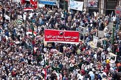 Cuadrado de Tahrir durante la revolución árabe Imagen de archivo libre de regalías