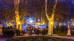 Cuadrado de Zagreb Zrinjevac durante celebraciones de la Navidad Fotografía de archivo