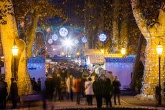 Cuadrado de Zagreb Zrinjevac durante celebraciones de la Navidad Foto de archivo