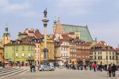 Cuadrado del castillo con Column de rey Sigismund Foto de archivo