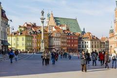 Cuadrado del castillo y estatua de rey Zygmunt III Waza Fotografía de archivo libre de regalías