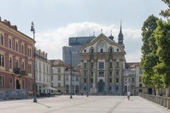 Cuadrado del congreso, Ljubljana, Eslovenia Imagenes de archivo